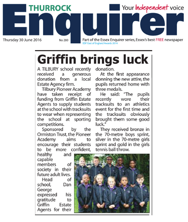Enquirer 30 June 2016 TPA Athletic Success in New Tracksuits