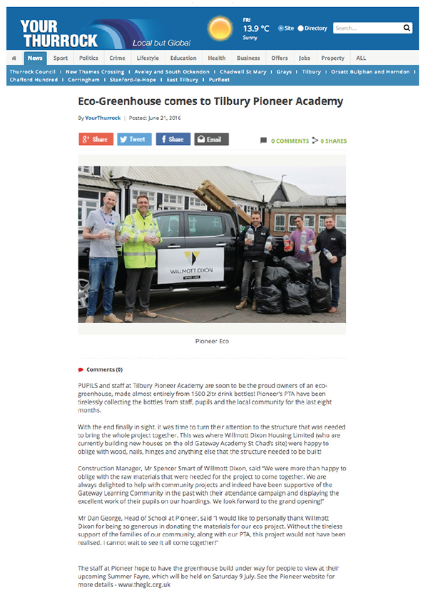 Your Thurrock 21 June 2016 TPA Eco Greenhouse Delivery