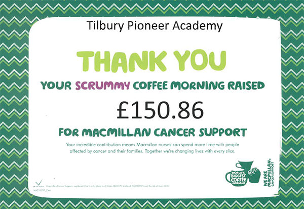 Macmillan Coffee Morning £150.86