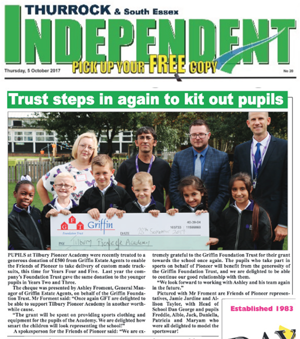 Thurrock Independent 5 October 2017 TPA GFT Tracksuits